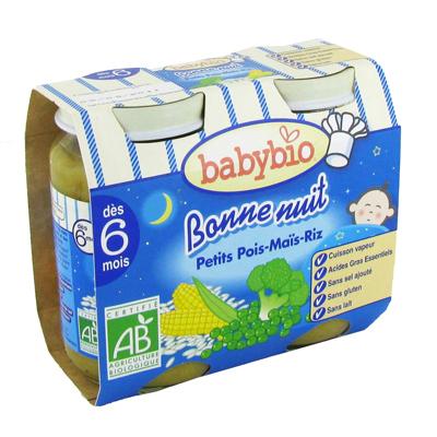 Babybio, Bonne nuit BIO, petits pois mais et riz ,cuisson vapeur, pot verre 2x200 gr