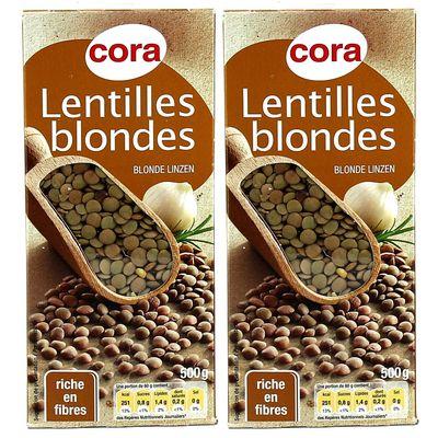 Cora lentilles blondes lot de 2x500g - Comment cuisiner des lentilles blondes ...