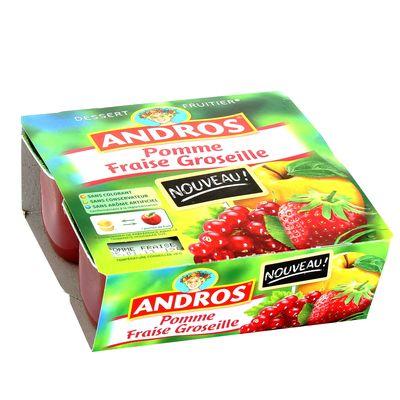 Andros, Dessert fruitier pomme fraise groseille, les 4 pots de 100 gr