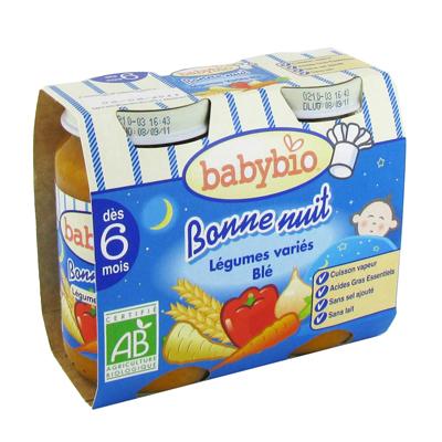Bonne nuit - Petits pots Legumes Varies-Ble Sans gluten. Sans proteine de lait.Cuisson vapeur.