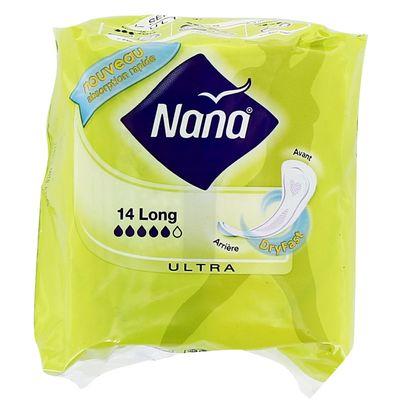 Serviettes hygieniques long Ultra Dryfast NANA, 14 unites