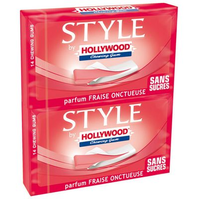 Hollywood Chewing gum Style fraise onctueuse, 2x14 gum ...