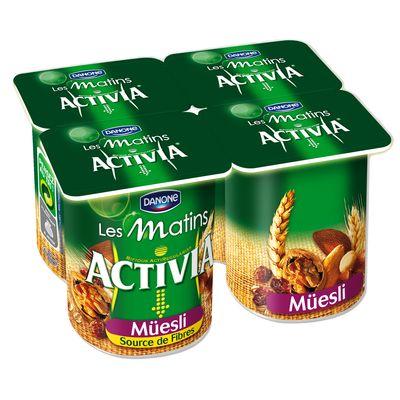 Activia yaourts aux cereales muesli source de fibres 4 x 155g