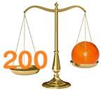 Une orange pèse 200 grammes en moyenne