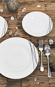 Lot de 4 assiettes plates en porcelaine carbone 27cm