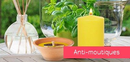 bougie, diffuseur anti-moustique, citronnelle ou géraniol