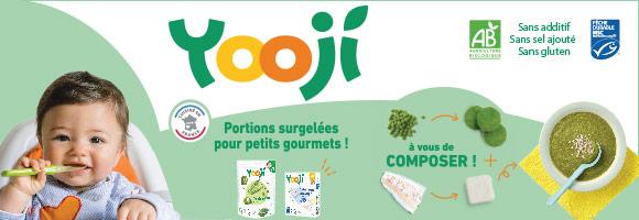 Yooji, de savoureuses recettes Bio et surgelées pour les bébés, sans additif, sans conservateur, sans sel ajouté, sans gluten.