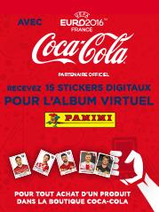 1 sticker PANINI exclusif au dos de chaque �tiquette de 1,5L Coca-Cola classique et z�ro