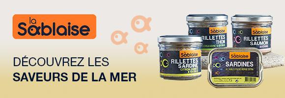 La Conserverie LA SABLAISE est une entreprise familiale, implantée depuis 25 ans à Olonne sur mer sur la côte atlantique. Ils fabriquent une gamme étendue de délicieuses spécialités de la mer...