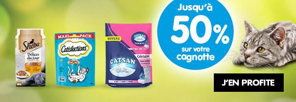 Profitez de promotions jusqu'à 50% sur votre cagnotte avec SHEBA et CATSAN.