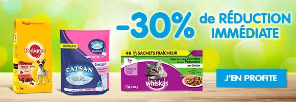 30% de remise immédiate sur une sélection de produits chiens/chats !