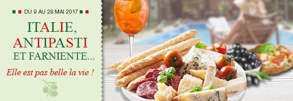 Du 9 au 28 mai, profitez de l'opération spéciale Italie. Au programme : dégustations et farniente !