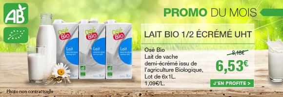 Profitez de notre promotion BIO du mois sur le lait 1/2 écrémé Osé Bio.