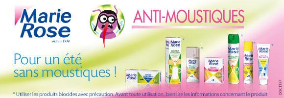 Pour un été en toute tranquillité, pensez aux anti-moustiques Marie Rose et bénéficiez d'une remise de immédiate de 15% jusqu'au 9 Juillet.