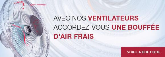 Accordez-vous une bouffée d'air frais avec nos ventilateurs de table, ventilateurs sur pied ou colonne...