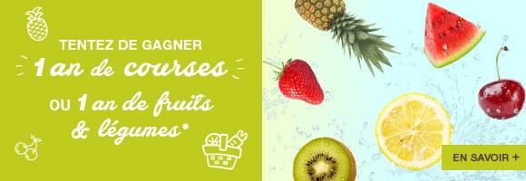 Jouez tout l'été et tentez de gagner 1 an de courses ou 1 an de fruits et légumes à domicile !