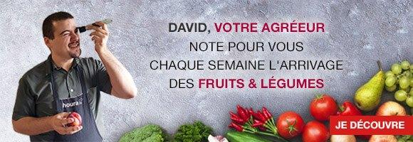 David, votre agréeur note pour vous chaque semaine l'arrivage des fruits et légumes selon 5 critères : maturité, texture, aspect, couleur et goût.