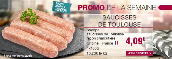 Profitez de notre promotion de la semaine sur la saucisse de Toulouse façon charcutière.