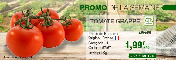 Profitez de notre promotion de la semaine sur la tomate grappe de chez Prince de Bretagne.