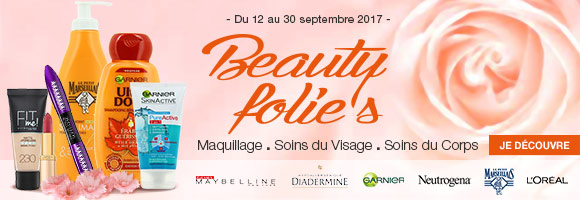 Beauty folie's du 12 au 30 septembre 2017 : découvrez notre sélection maquillage, soins du visage et soins du corps.