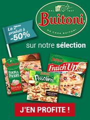 Délicieuses et généreuses, les pizzas surgelées à l'italienne de Buitoni se déclinent en pâte fine avec les recettes Four à Pierre, en pâte épaisse avec les recettes Fraich'Up, Little Italy, ou So Creamy et en mini-pizzas avec les recettes Piccolinis et Tentazione pour répondre à toutes les gourmandises !