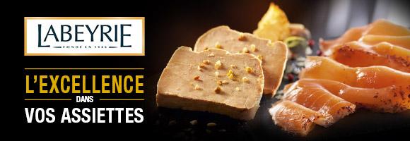 Créée en 1946, la Maison Labeyrie est née autour des produits iconiques que sont le Foie Gras et le Saumon Fumé.  Au fil des années, toujours animée par la volonté d'offrir des produits d'exception accessibles au plus grand nombre, Labeyrie étend son savoir-faire à d'autres produits raffinés comme le caviar ou le jambon ibérique avec pour ambition d'enchanter chaque moment.