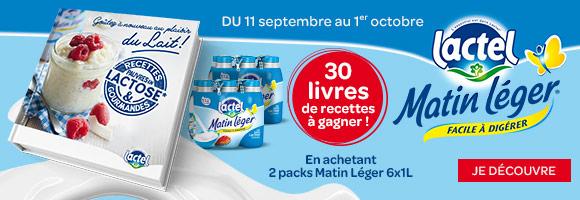 Tentez de gagner un livre de recettes pauvres en lactose en achetant 2 packs de lait Lactel Matin Léger 6x1L. Voir le règlement