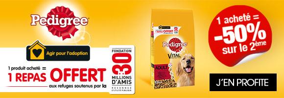 Le chien est à l'honneur pour cette rentrée, lui aussi a le droit à ses promotions et cela est possible grâce à Pedigree avec du 2ème à -50% sur une sélection de produits ! Et qui plus est, pour un produit Pedigree acheté, Pedigree offre un repas aux refuges soutenus par la fondation 30 millions d'amis !