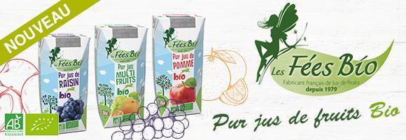 Nouvelle gamme à découvrir sur le site houra : Les fées bio, propose des jus extraits de fruits. Tout le plaisir d'un jus 100% issu de l'agriculture biologique sans sucres ajoutés, sans colorants et sans conservateurs.