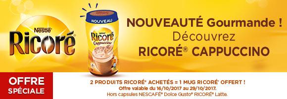 Découvrez RICORE cappuccino et pour deux produits RICORE achetés , 1 Mug offert.