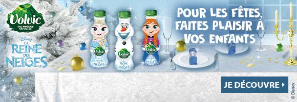 Pour les fêtes, faites plaisir à vos enfants, avec les bouteilles VOLVIC La reine des neiges.
