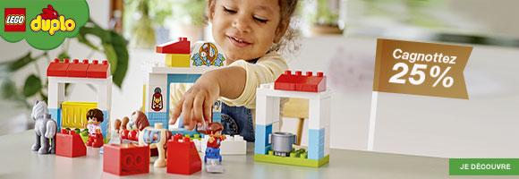 Cagnottez 25% sur les ensembles LEGO®  DUPLO® ! Les premières manipulations et les constructions, dès 12 mois The LEGO logo, the Minifigure, DUPLO, BIONICLE, DIMENSIONS, the FRIENDS logo, the MINIFIGURES logo, MINDSTORMS, NINJAGO and NEXO KNIGHTS are trademarks of the LEGO Group. ©2018 The LEGO Group