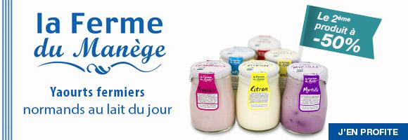 Découvrez les Yaourts normands au lait du jour La Ferme du Manège et profitez de nos promotions.
