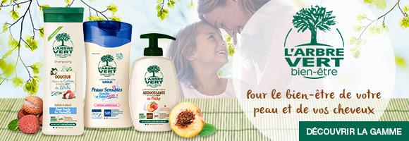 Découvrez l'ensemble de la gamme L'Arbre Vert bien-être pour le bien-être de votre peau et de vos cheveux.