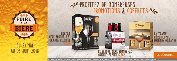 Du 21 mai au 03 juin 2018, à l'occasion de La Foire à la Bière, profitez de nombreuses promotions sur nos coffrets et packs. L'abus d'alcool est dangereux pour la santé, consommez avec modération.