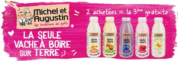 Découvrez les Vaches à Boire Michel et Augustin : du yaourt, des fruits, une pointe de sucre, et c'est TOUT !