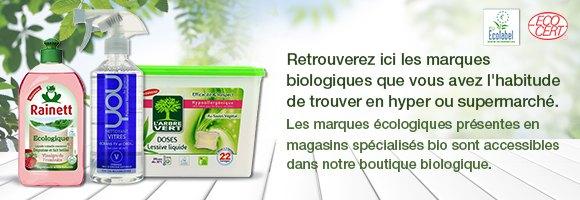 Retrouverez ici les marques écologiques que vous avez l'habitude de trouver en hyper ou supermarché. Les marques écologiques présentes en magasins spécialisés bio sont accessibles dans notre boutique biologique.