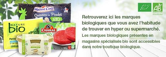 Retrouverez ici les marques biologiques que vous avez l'habitude de trouver en hyper ou supermarché. Les marques biologiques présentes en magasins spécialisés bio sont accessibles dans notre boutique biologique.