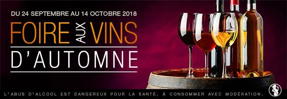 Du 24 septembre au 14 octobre 2018, c'est la Foire aux vins d'automne. profitez de + de 300 références