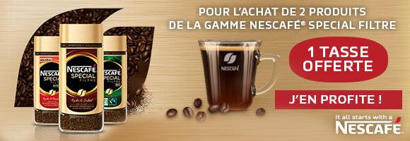 Nescafé met toute sa passion et son expertise dans l'élaboration de Nescafé Spécial Filtre, pour que chaque tasse de café vous offre une expérience 100% café à l'arôme riche et subtil. Retrouvez les recettes Nescafé Spécial Filtre Classique, Décaféiné sublimées par un nouveau look iconique et découvrez les deux savoureuses nouveautés : Nescafé Spécial Filtre Intense et Nescafé Spécial Filtre Bio. En ce moment, pour l'achat de deux produits Nescafé Spécial Filtre recevez gratuitement une belle tasse en verre aux couleurs de la marque