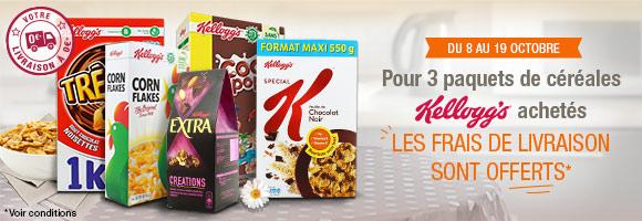 Pour 3 paquets de céréales Kellogg's achetés, vos frais de livraison sont offerts*.  *Pour un montant minimum de 60€ d'achat.