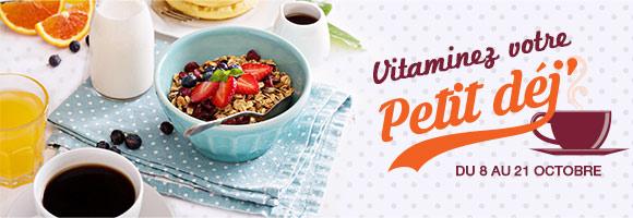 Un petit déjeuner équilibré est indispensable à un bon équilibre alimentaire. Il nous permet de faire le plein d'énergie pour bien démarrer la journée. Il se compose idéalement d'un produit fruité, d'un produit céréalier, d'un produit laitier et d'une boisson. Aussi, du 8 au 21 octobre, composez votre petit déjeuner à partir d'un large choix de produits : céréales, laitages, fruits, oeufs, jus de fruits, etc.