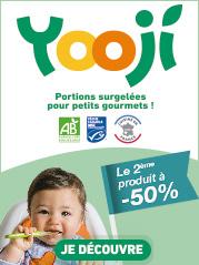 Profitez des promotions sur toute la marque Yooji. De savoureuses recettes Bio et surgelées pour les bébés, sans additif, sans conservateur, sans sel ajouté, sans gluten.
