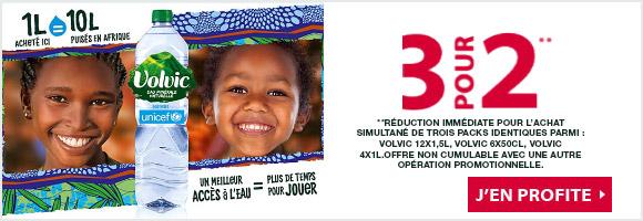 * Pour tout litre Volvic porteur du logo en soutient de l'UNICEF, au moins 20% des bénéfices sont reversés à UNICEF pour donner accès à 10L d'eau en Afrique. L'équivalence est calculée à partir du nombre de bénéficiaires du projet, de la durée minimum de fonctionnement d'un forage (10 ans) et des besoins fondamentaux journaliers définis par l'OMS (20 litres par personne). UNICEF ne cautionne aucune marque ou produit.Les enfants représentés ne sont pas bénéficiaires des programmes de l'UNICEF. Les bénéfices sont calculés à partir du prix de vente hors coûts et taxes.