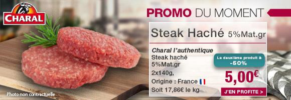 Profitez de notre promotion du moment sur le steak haché CHARAL L'AUTHENTIQUE
