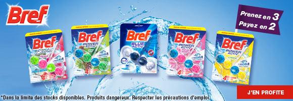Découvrez l'ensemble de la gamme Bref Wc actuellement en promotion en 3 pour 2 pour nettoyer et rafraîchir efficacement vos toilettes.