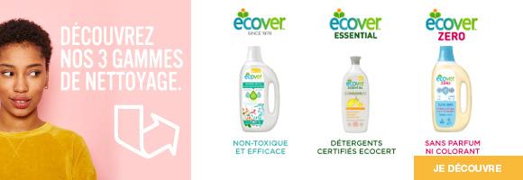 Découvrez la gamme ecologique Ecover, élaborés exclusivement à partir de matières premières végétales et minérales.