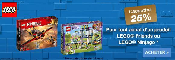 Jusqu'au 25 Novembre, profitez de 25% de cagnottage sur les LEGO® Friends et les LEGO® Ninjago City LEGO® Friends : Rejoins les cinq amies dans leur mission pour rendre le monde (et Heartlake City) plus agréable ! LEGO® Ninjago : Construis tes propres aventures ninjas, avec tes héros et méchants.