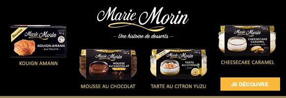 Retrouvez les desserts simples et généreux Marie Morin,et délectez-vous de ces recettes « de maman » comme si elles avaient été préparées à la maison.
