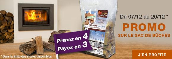 Profitez de la promotion 4 sacs de bûches achetés 3 payés pour allumer un feu de cheminée et réchauffer votre maisonnée. Offre valable du 7 au 20 décembre 2018, dans la limite des stocks disponibles.